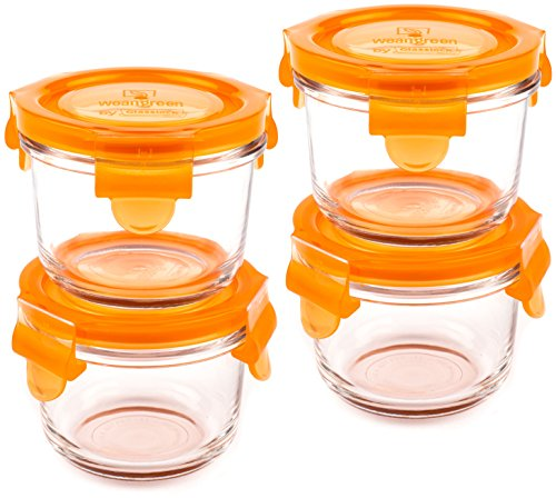 Wean Green Round Wean Bowls 5.4 Ounce Baby Food Glass Containers - Carrot (Set of 4)