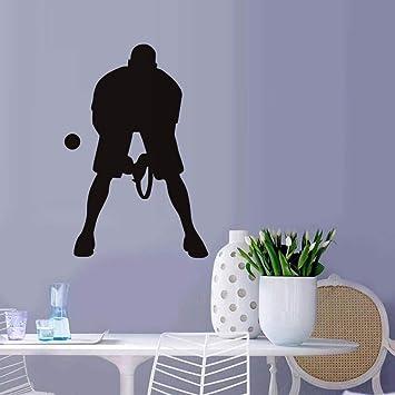 58 * 86 cm Jugar pelota de tenis etiqueta de la pared jugador silueta gimnasio tatuajes