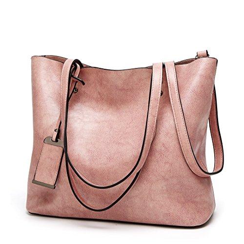 Obosoyo Women Shoulder Tote Satchel Bag Lady Messenger Purse Top Handle Hobo Handbags Pink
