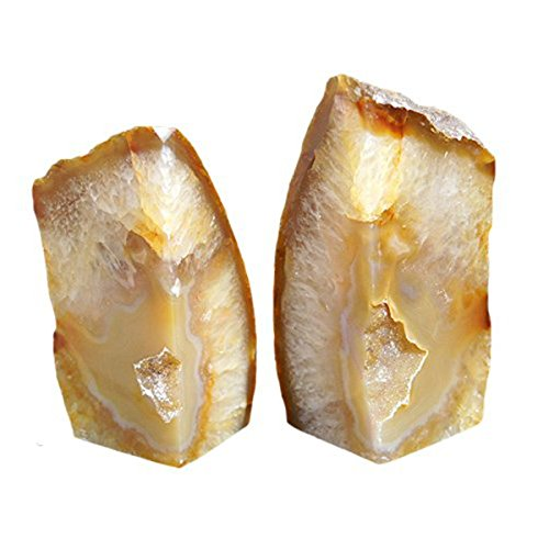 JIC Gem Polished Natural Agate Bookend(s) - 1 Pair - 4 to 6 Lbs -