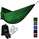 Yes4All Single Lightweight Camping Hammock with Strap & Carry Bag – Nylon Parachute Hammock / Lightweight Portable Hammock for Camping, Hiking (Green)