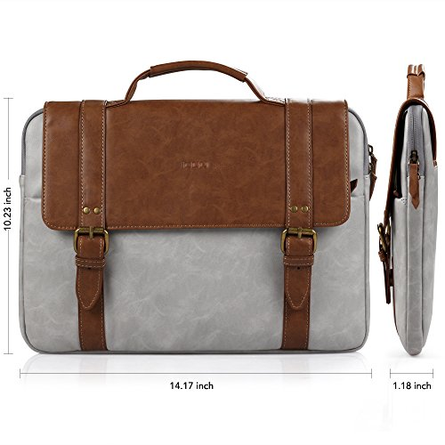 2eee60121 iDOO Faux Leather Laptop Bag Briefcase with Elegant Business Casual Style  for 13-13.3 inch