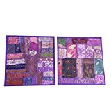 Mogul Patchwork Cushion Case Thread Embroidered Purple Cushion Covers Festive Décor