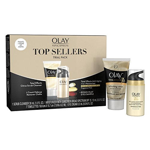 Olay Total Effects Top Sellers Skin Care Trial Pack with Face Scrub, Makeup Remover, Moisturizer with SFP and Eye Cream, 1.516 oz ()