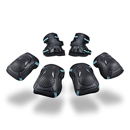 SKL Multi Sport Protective Gear Knee Pads and Elbow Pads with Wrist Guards Adjustable Safety Guards for Cycling, Skateboard, Scooter, Bmx, Bike and Other Extreme Sports Activities