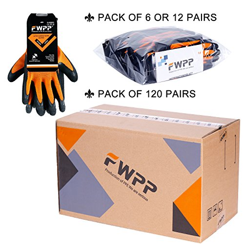 FWPP High Visibility Nylon Latex Foam Coated Work Gloves,Breathable Soft Wearproof Non-slip Comfortable Safety Protective Glove Pack of 12Pairs Large Fluorescence Orange by FWPP (Image #4)