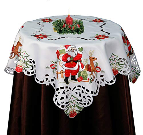 Creative Linens Holiday Christmas Embroidered Santa Reindeer Poinsettia Tablecloth 33x33Square White (Santa Reindeer Snowman)