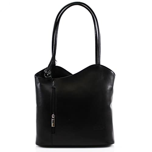 947091c0e76c Ladies Vera Pelle Italian Leather Shoulder Bag Women Convertible Girls  Backpacks (Black)