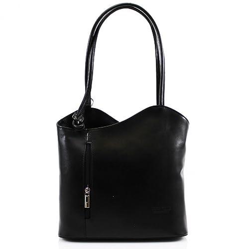 60256ba3a9061 Ladies Vera Pelle Italian Leather Shoulder Bag Women Convertible Girls  Backpacks (Black)