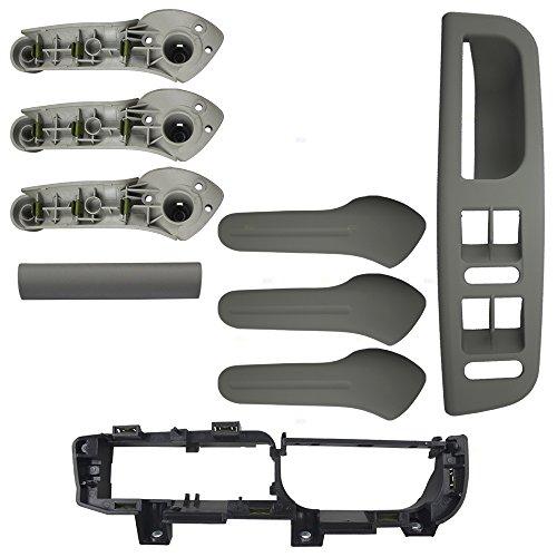 Gray 4 Piece Kit of 3 Inside Door Grab Handles w/Master Window Switch Bezel Plate & Trim Set Replacement for VW Golf Jetta AutoAndArt ()