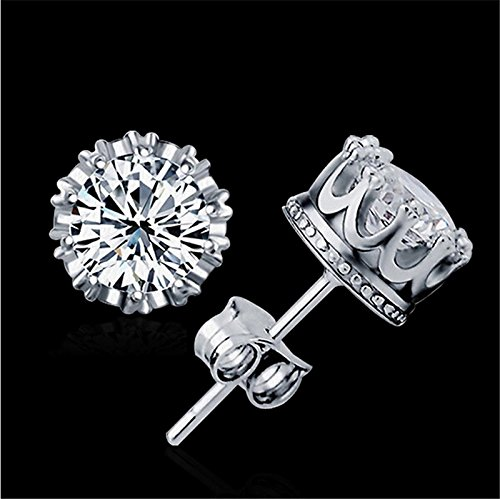 Alvade Shining Crown Earrings, Elegant Silver-Plated Stud Earrings Girl Jewelry Diamond Jewelry Ladies for Gift Silver Jewelry Graduation Gift by Alvade (Image #5)