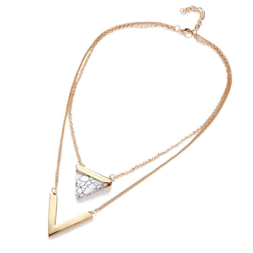 Catena di gioielli in pietra doppio triangolo Collana laminato a forma di V (Nero Stone) Donne Wudi