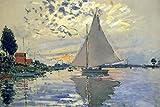 Claude Monet Sailboat at Le Petit Gennevilliers Art Print Poster 18x12