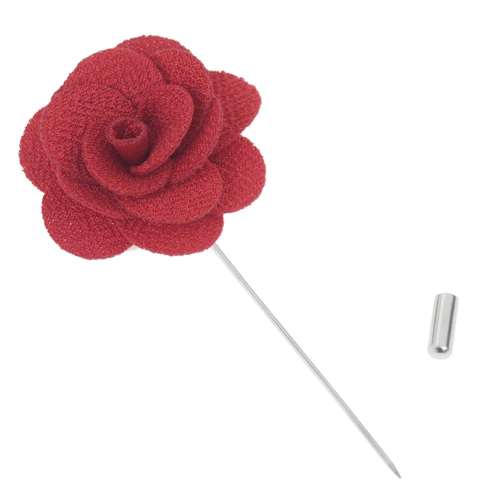 TopTie Mens Lapel Flower Pin Rose for Wedding Boutonniere Stick Pack of 6 -Pink-Pack of 6