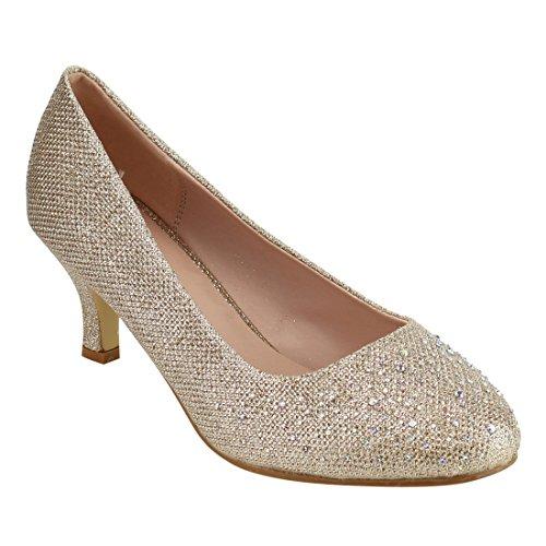Heel Gold Evening Prom Shoes (Beston DE25 Women's Glitter Slip On Kitten Heel Dress Pumps Run One Size Small, Color Champagne, Size:10)