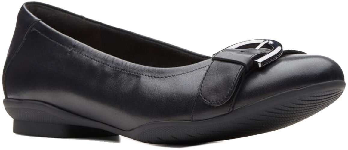 CLARKS Women's Neenah Lark Ballet Flat B078XJGJND 9 W US|Black Leather
