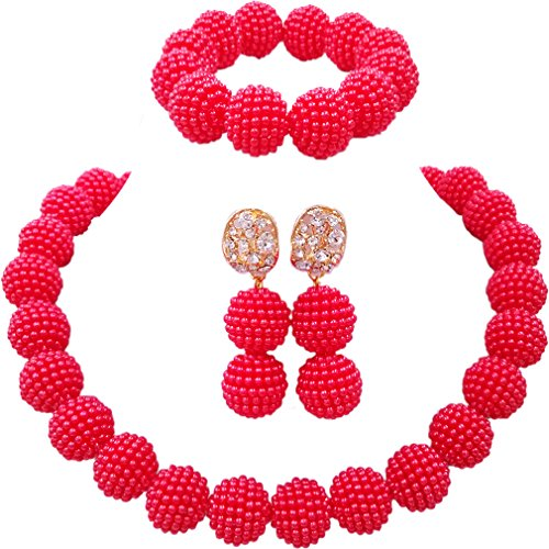 laanc Fashion Women 1 Rows Multicolor Plastic Imitation Pearl Nigerian Wedding Beads African Jewelry Sets (Red)