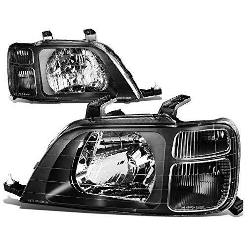 For Honda CRV 1st Gen RD LX EX Pair of Black Housing Clear Corner Headlight Lamp