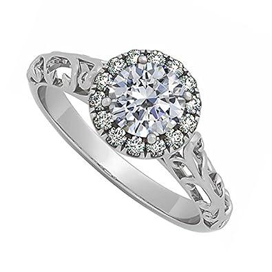 Diamant Filigran Halo Verlobungsring In 14 K Weiss Gold Fab Design