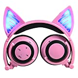 Cat Ear Headphones, DICEKOO Wireless Bluetooth Headset Flashing Glowing Cosplay Fancy LED Light USB Charger Earphone for iPhone 7/6s/iPad/Fire 7,Android Phone, Macbook (Pink)