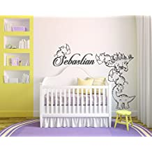 "Personalized Name and Dinosaurs - Baby Boy Girl Decoration - Mural Wall Decal Sticker For Home Interior Decoration Car Laptop (316) (Wide 40"" x 32"" Height)"
