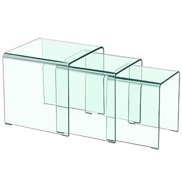 Menzzo Mlm122356 Contemporain Table Basse Gigogne Verre Transparent 42 X 42 X 42 Cm