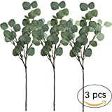 "Supla 3 Pcs Artificial Silver Dollar Eucalyptus Leaf Spray in Green 25.5"" Tall Artificial Greenery Holiday Greens Christmas greenery"