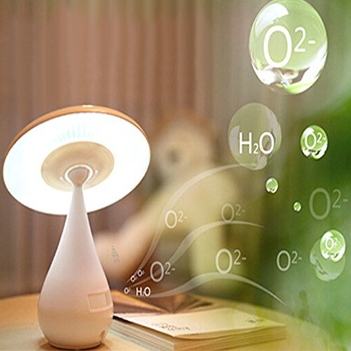 Eonkoo Air Purified 48 LED USB Night Light Desk Mushroom Lamp Rechargeable Energy Saving Book Light with Touch Sensor Adjustable Brightness Health Anion Anti-radiation (White)