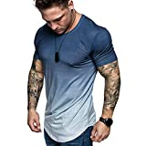 Mens Tank Tops ! Metal Round Buckle T-Shirt Button Blouse Short Sleeve Fit Pollover Top by JSPOYOU