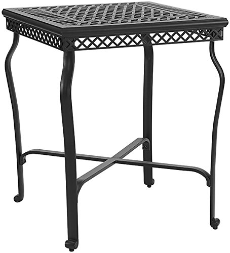 Crosley Furniture CO6202-BK Palermo Outdoor Aluminum Bar-Height Bistro Table, Black - Classic design makes any patio or poolside feel like a private villa Open-weave tabletop is perfect for snacks and drinks Constructed from heavy duty cast aluminum, designed to last - patio-tables, patio-furniture, patio - 51GWr79KhfL -