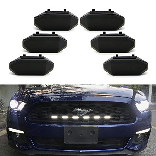 iJDMTOY 6pc Set Smoked Lens Xenon White LED Front Grille Insert DRL Driving Light Kit For 2015-2017 Ford ()