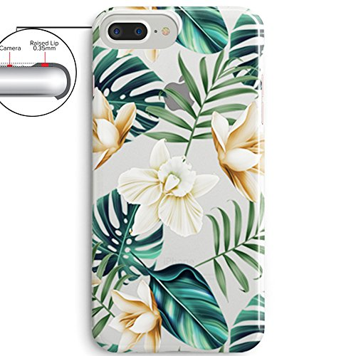 iPhone 8 Plus(7 Plus) Bahama Leaves Aloha Love Summer Tropical Coffee Floral Clear Rubber Case for iPhone 7 Plus-Colored Vintage Flower Floral Japanese Cherry Blossom Roses iPhone 8 Plus Case Photo #4