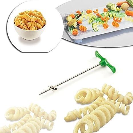 Cortador de patata en forma de rizo para decoraciones en espiral y vaciador de frutas y verduras – WELKHOME mws1462