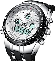 Men's Sports Watches Big Face Multifunction Military Decent Wrist Watch in Black Silicone Band