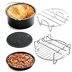 Universal Air Fryer Accessories - Air Fryer Accessories Kit of 5 Including Cake Barrel,Baking Dish Pan,Grill,Pot Pad, Pot Rack with Silicone Mat Fit all 3.7QT-5.3QT-5.8QT