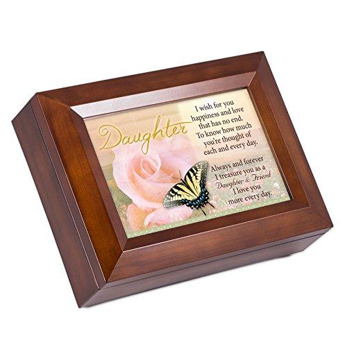 Cottage Garden Daughter Dark Wood Finish Jewelry Music Box - Plays Tune You are My Sunshine