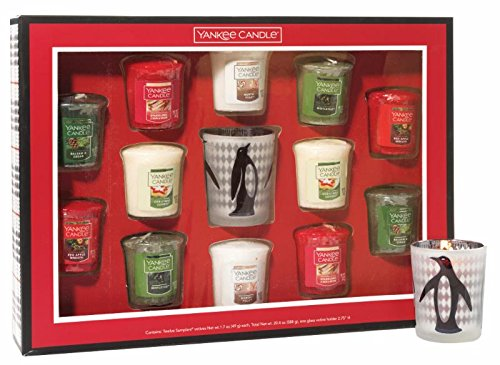 Yankee Candle Holiday Sampler Votive Candle Gift Set with Sparkling Cinnamon, Balsam & Cedar, North Pole, Red Apple Wreath, Mistletoe, and Christmas Cookie Votives