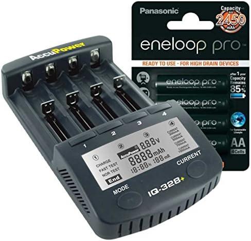 AccuPower IQ328 - Pack de pilas y cargador (4 x Eneloop Pro XX AA, Li-ion, Ni-MH, Ni-Cd), color negro: Amazon.es: Electrónica