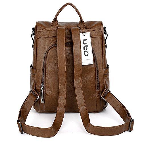 Women Washed Convertible UTO PU Leather Bag Backpack 480 Tassels Black Purse Shoulder brown Ladies Rucksack 1wgAn