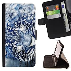 DEVIL CASE - FOR Sony Xperia m55w Z3 Compact Mini - Mountain Lion Puma Painting - Style PU Leather Case Wallet Flip Stand Flap Closure Cover