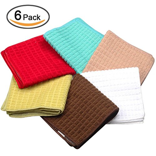 Kleanner SUPER PREMIUM Microfiber Kitchen Dish Cloth With Polyster Mesh Scour Side for Scrubbing, Double Side Scrubber Rags Cloth, Size 12 x 12 Inch, Set of 6 Packs ( Assorted Colors)