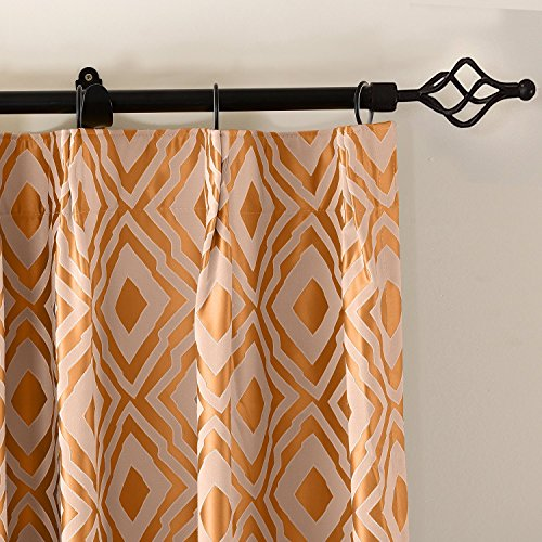 ChadMade Dust Proof Curtains, Jacquard Luxury Window Curtain, Blackout Lined Drapes, Two-Toned Damask Diamond, 120W x 102L Orange Pink Panel Pinch Pleated (1 Panel) (Textured Thermal Pinch Pleated Drape)