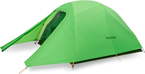 Three Donkeys Breeze-Up 1, 2 and 3 Person Lightweight Waterproof Camping and Backpacking Hiking Tent with Footprint
