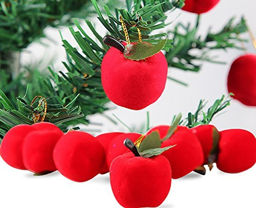 Lanue Christmas Red Apples Christmas Tree Decorations Hanging Ornaments Xmas Party - Tree Ornaments Apple Christmas
