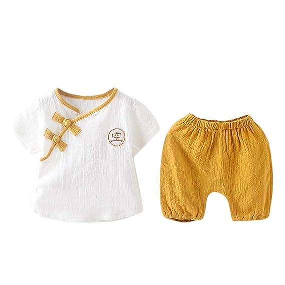 Conjuntos Bebe Niño Camisetas De Lino + Pantalones Cortos ...