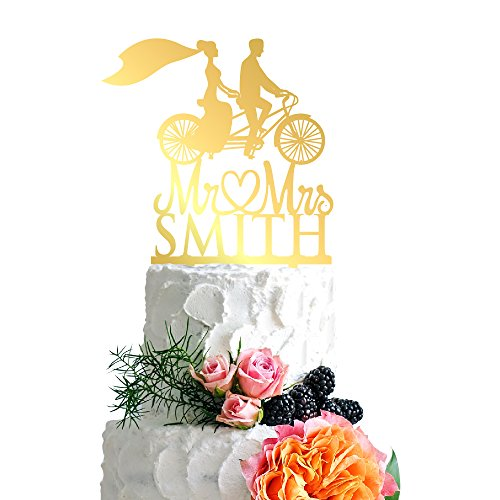 P Lab Retro Bicycle Bride Veil Wedding Wedding Cake Topper Acrylic Decoration for Special Event Gold Mirror