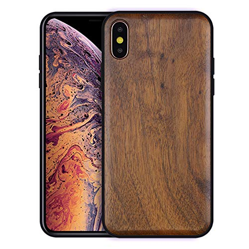 Boogice iPhone X/XS Wood Case - Real Natural Walnut,- Slim Shockproof Hybrid Cover for iPhone X(10),XS(Walnut)