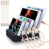 Charging Station 5 Port Usb Charger Quick Charge Charging Dock, Cell Phone Charger Multi Port Usb Desktop Charging Station for Multiple Devices, Multi Device Charging Station for iphone, ipad, Tablet