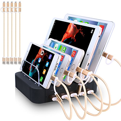 Charging Station 5 Port Usb Charger Quick Charge Charging Dock, Cell Phone Charger Multi Port Usb Desktop Charging Station for Multiple Devices, Multi Device Charging Station for iphone, ipad, Tablet (Usb Charger Charge Dock)