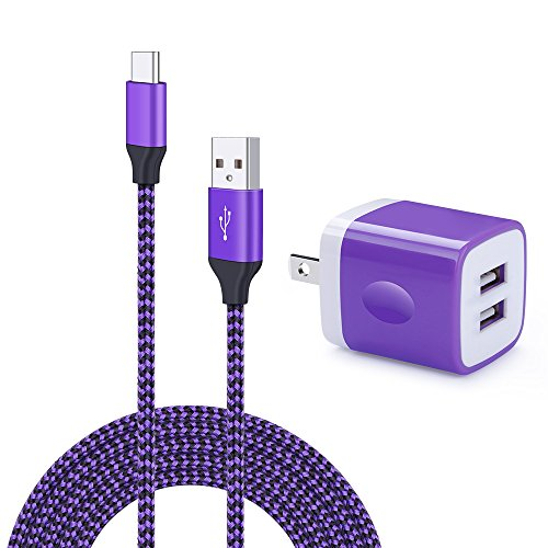 Price comparison product image Wall Charger Dual Port Adapter with 6ft USB C Cable, Kakaly Charge Sync Cable Cord for Samsung Galaxy S9 / S9 Plus / S8 / S8 Plus / Note 8, LG G5/G6/V20/V30, Nexus 5x/6p, Nintendo Switch &more-Purple